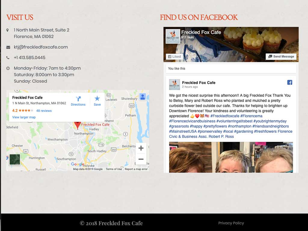 Local search optimized footers with NAP, hours, Google map, and Facebook feed