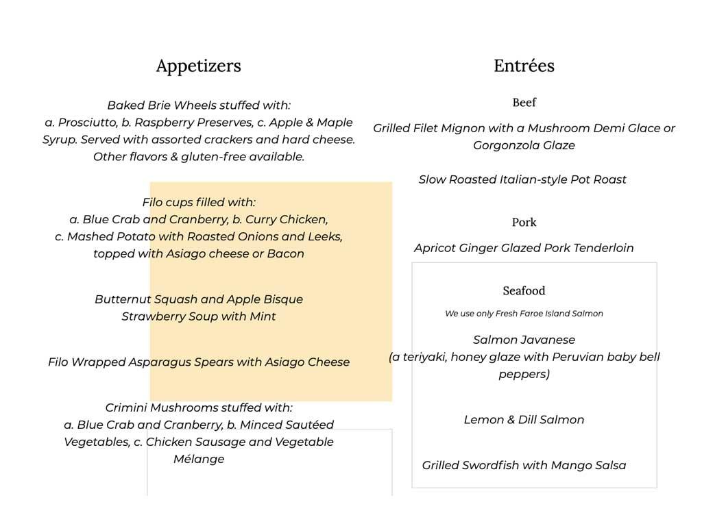 Perfect menus