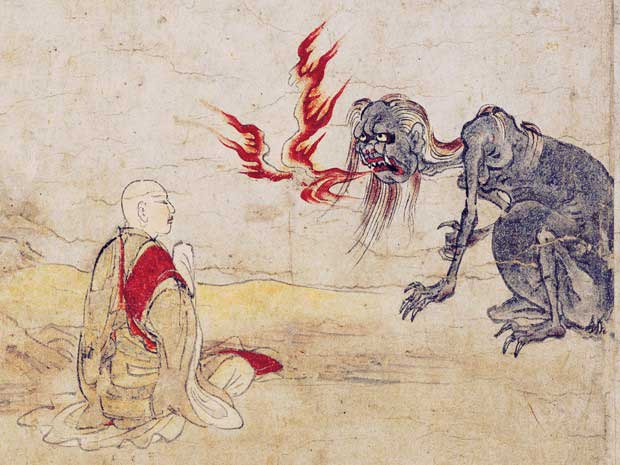 Buddhist monk meets the fire breathing hungry ghost