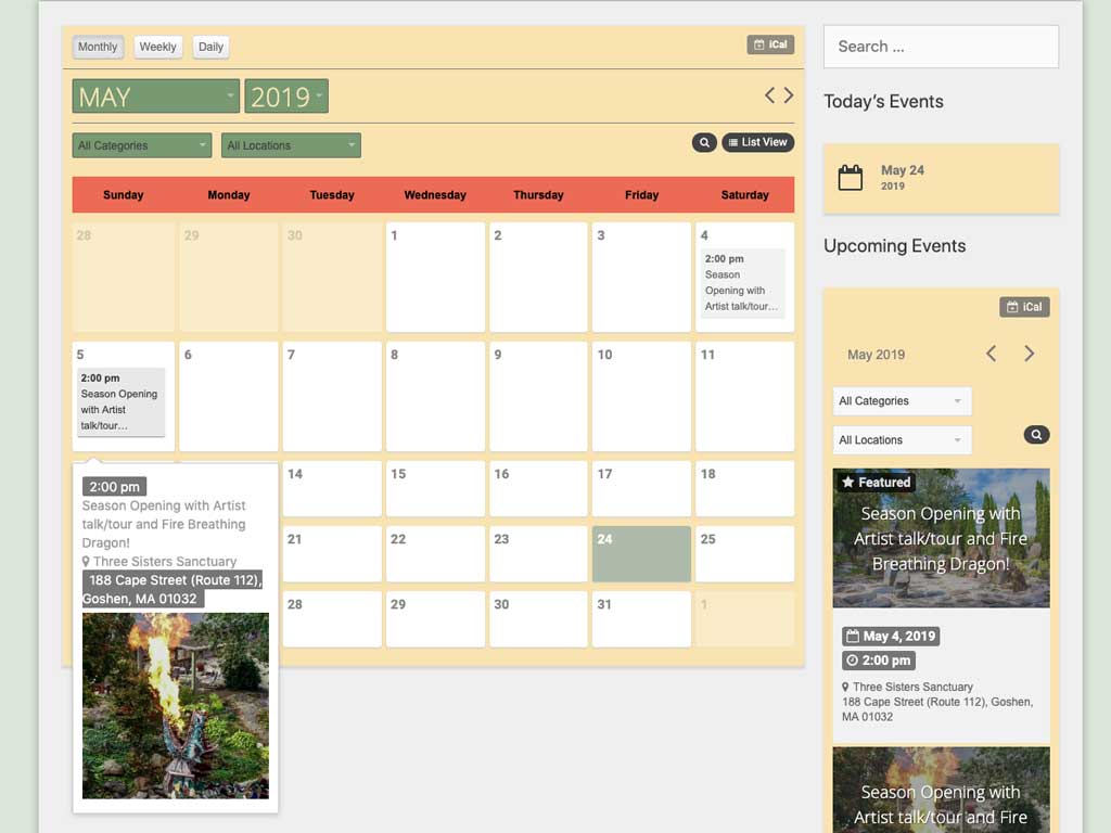 Elegant, searchable calendar of events with quick view popups